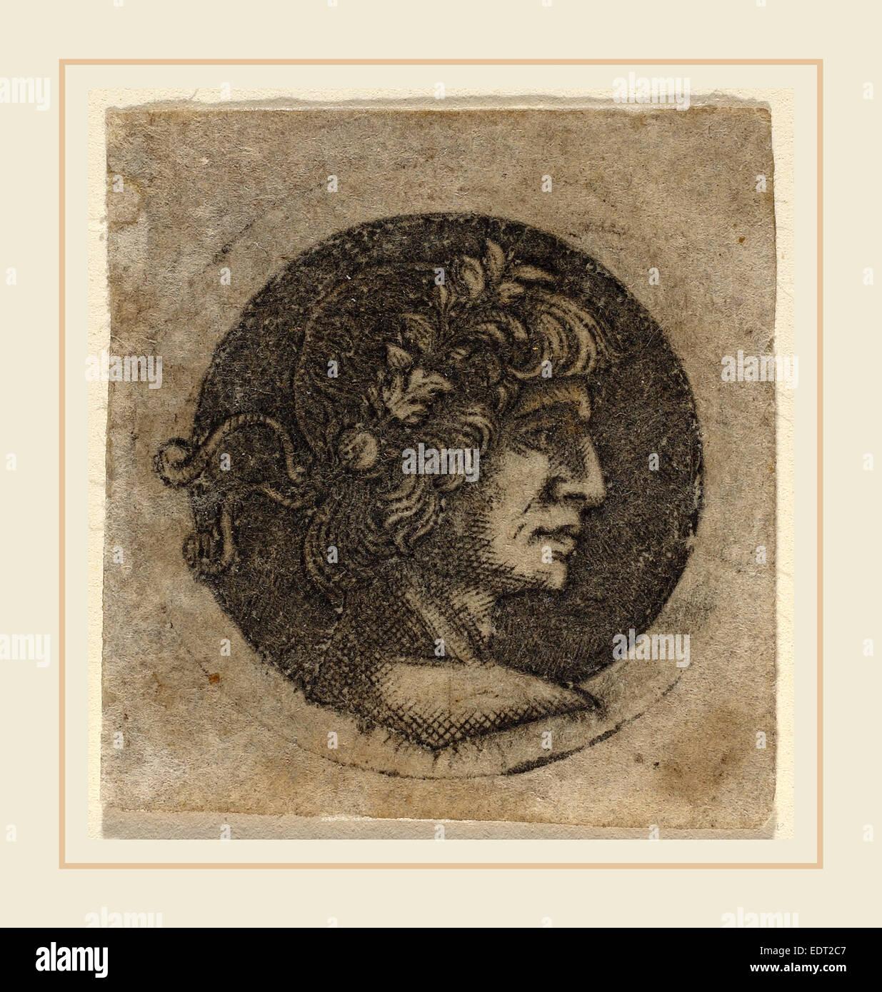Cerchio di Francesco Francia, la testa di un imperatore romano, c. 1480-1510, niello stampare Immagini Stock