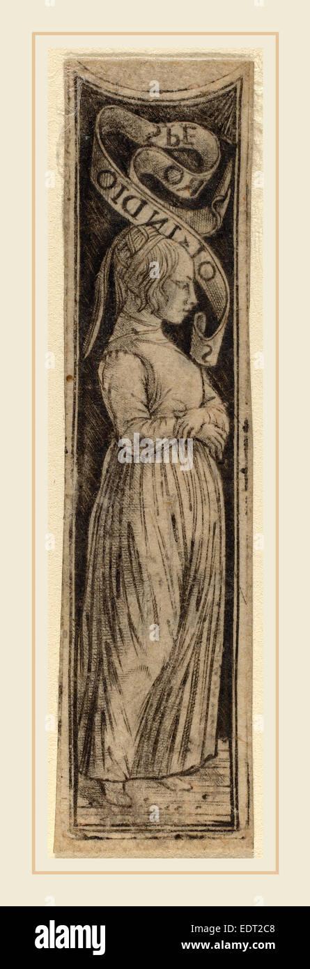 Attribuito a Francesco Francia (Italiano, c. 1447-1517), Speranza, c. 1470-1480, niello stampare Immagini Stock