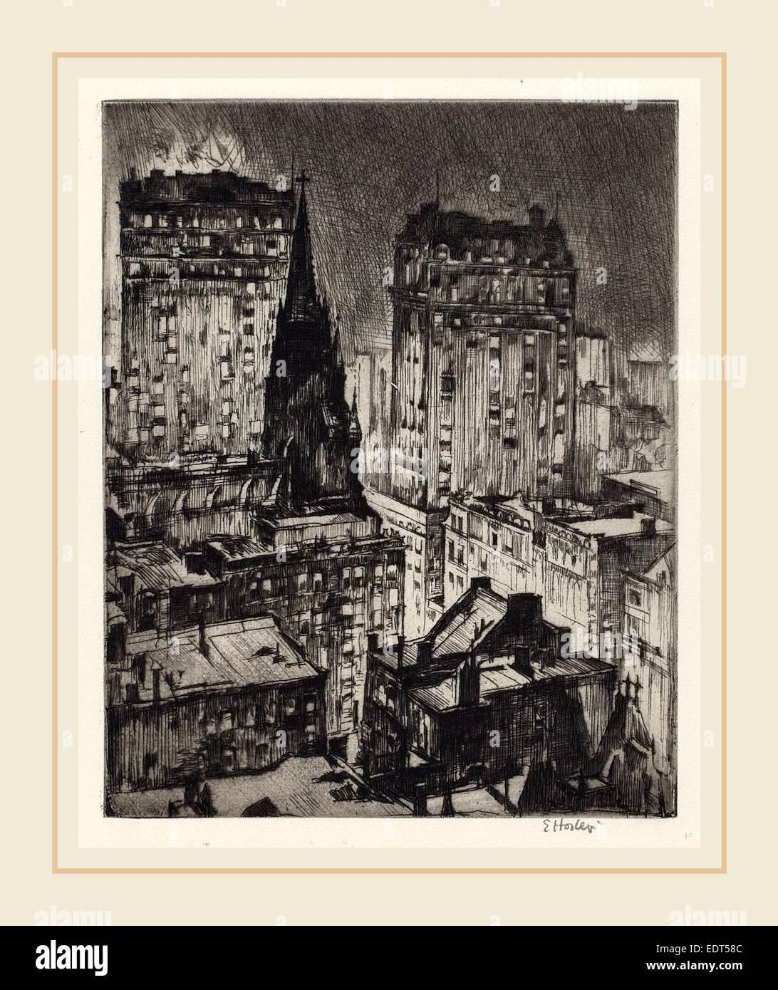 Earl Horter, la Torre scuro, Americano, 1881-1940, 1919, attacco Immagini Stock