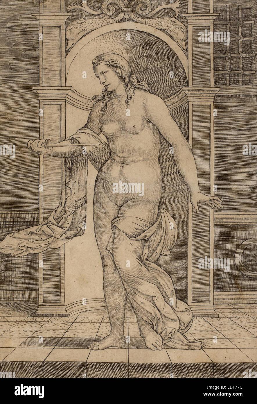 Jacopo Francia (italiano, 1486 o prima - 1557), Lucrezia, c. 1510, incisione Immagini Stock