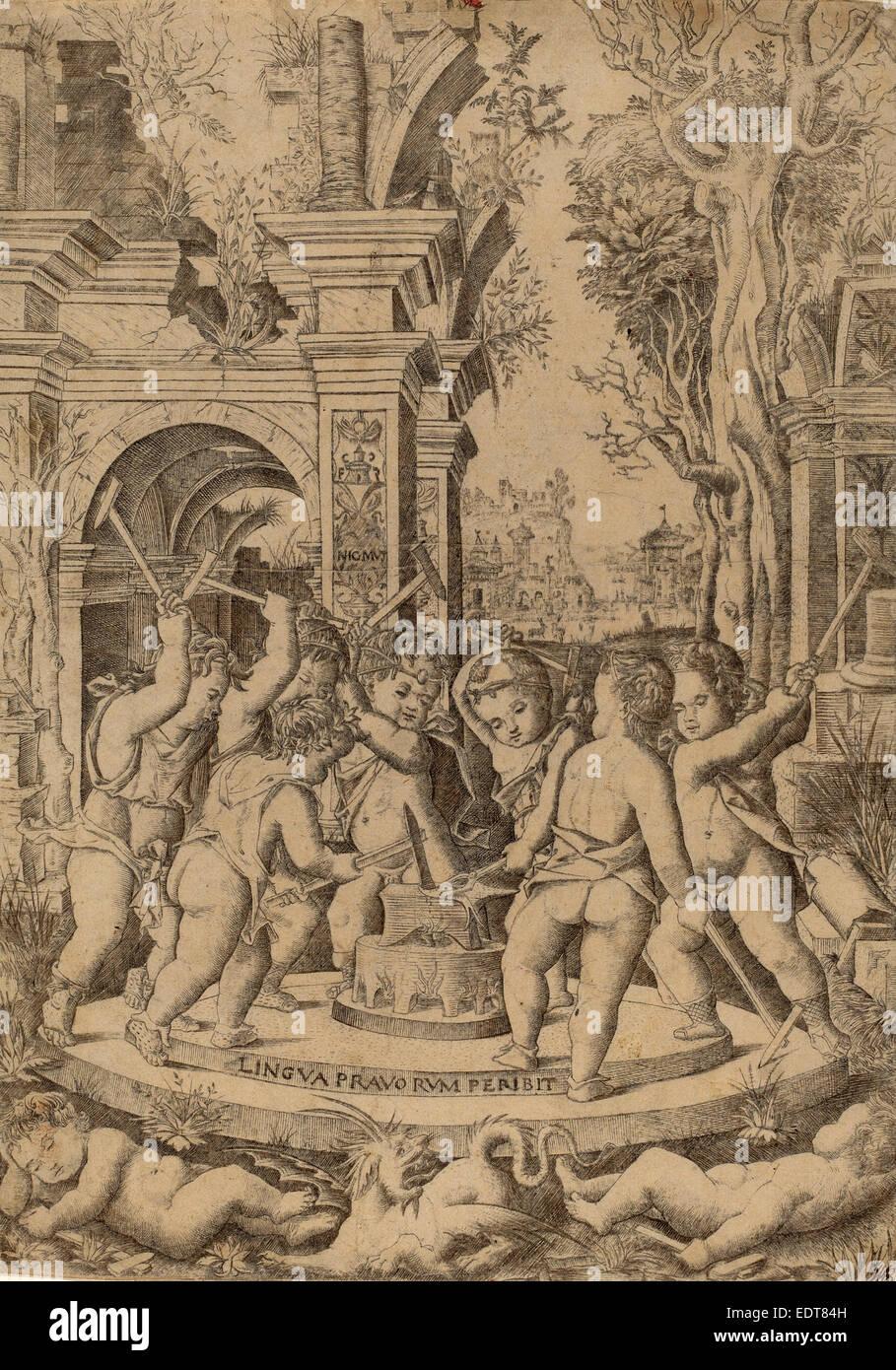 Nicoletto da Modena (italiano, attivo 1500-1512), il destino di un Male Lingua, c. 1507, incisione Immagini Stock