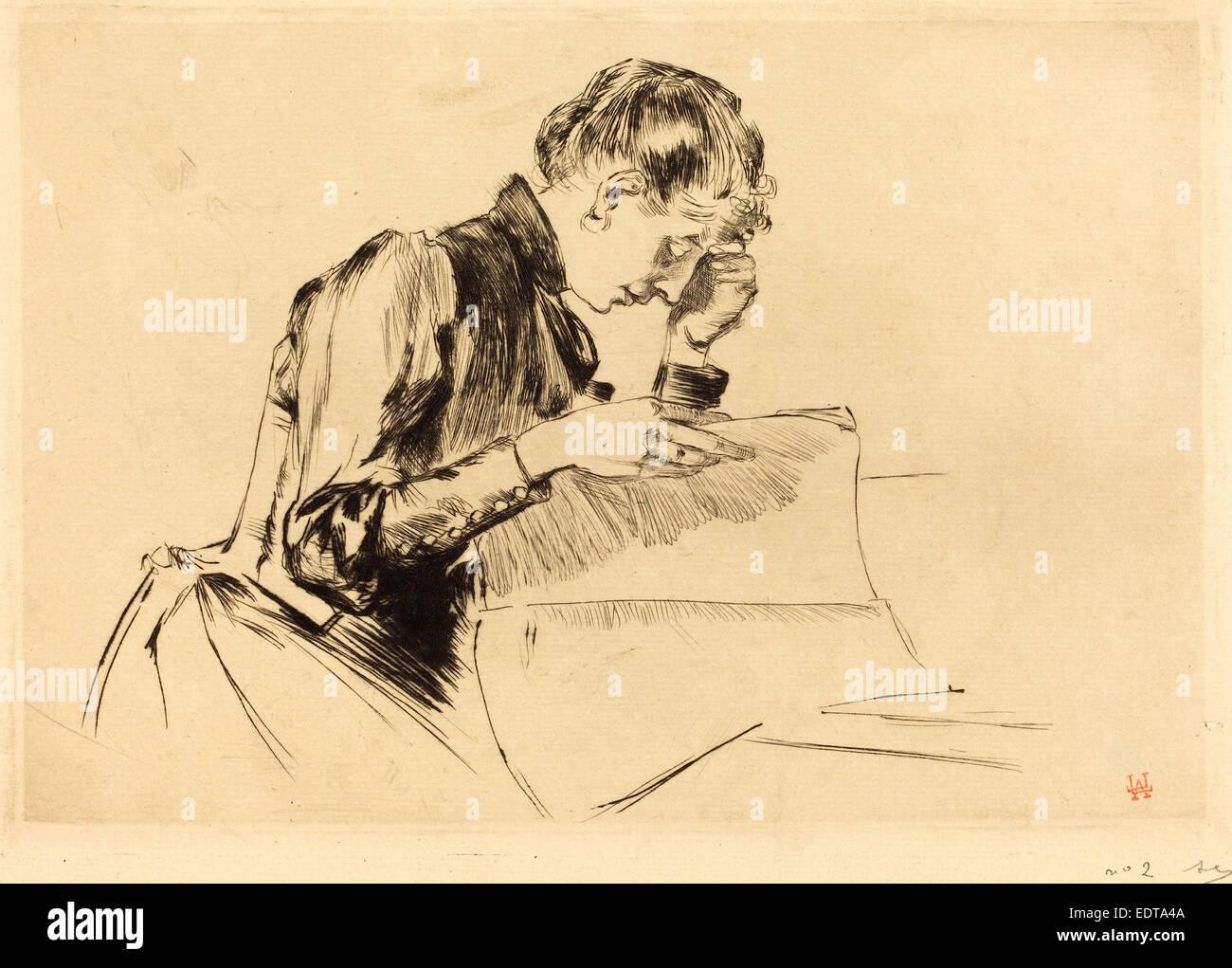 Auguste Lepère (francese, 1849 - 1918), le immagini (Les immagini), 1889, puntasecca Immagini Stock