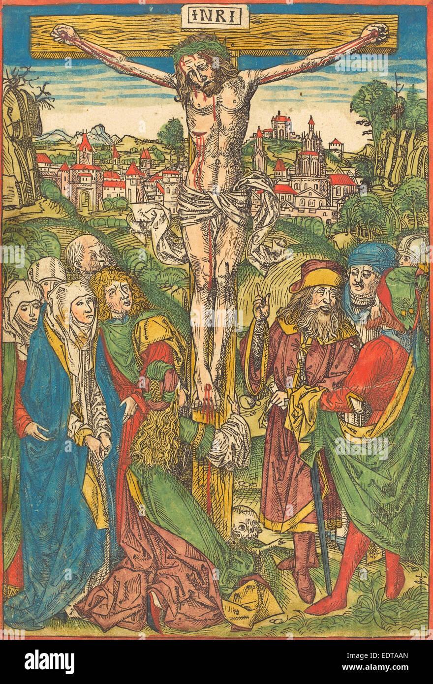 Attribuito a Michael Wolgemut (tedesco, 1434 - 1519), la Crocifissione con Santa Maria Maddalena, c. 1490, colorate Immagini Stock