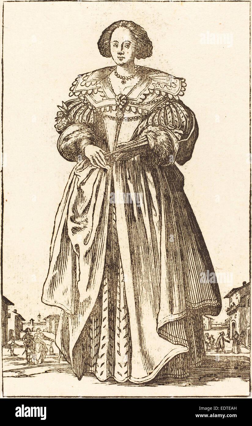 Dopo Jacques Callot, nobile donna con ventilatore, xilografia Immagini Stock