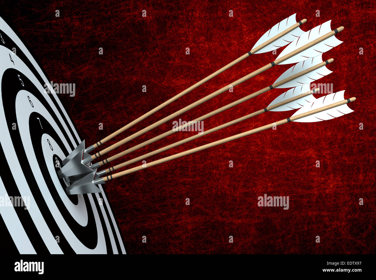3D render di frecce di colpire il centro del bersaglio Immagini Stock