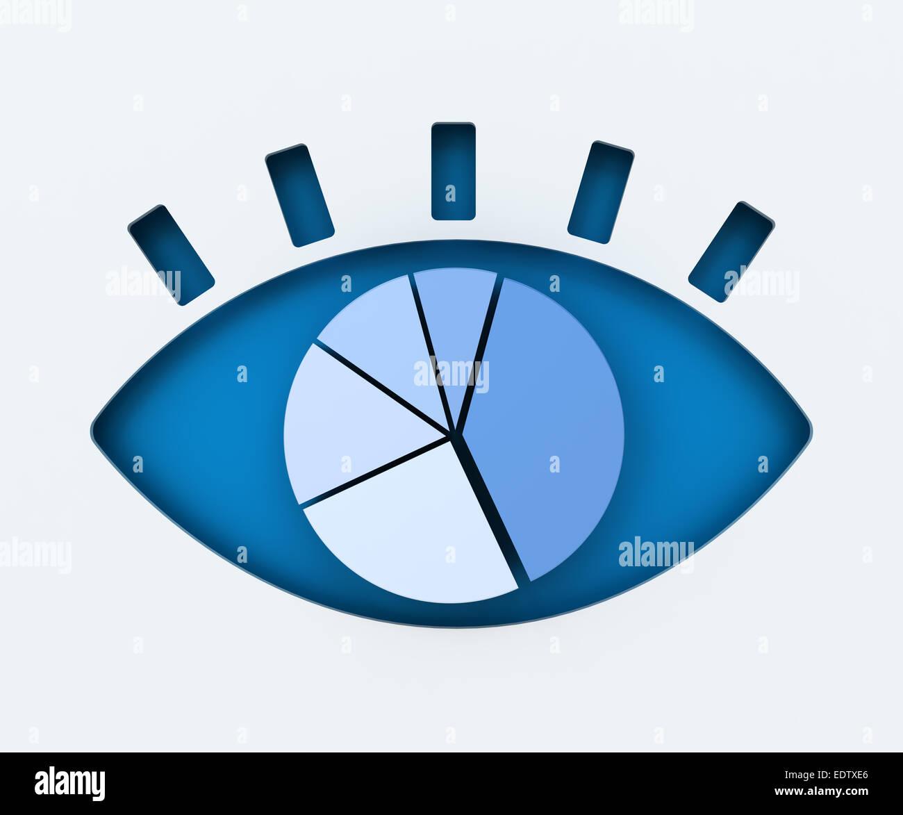 Occhio umano carta tagliata con grafico a torta Immagini Stock