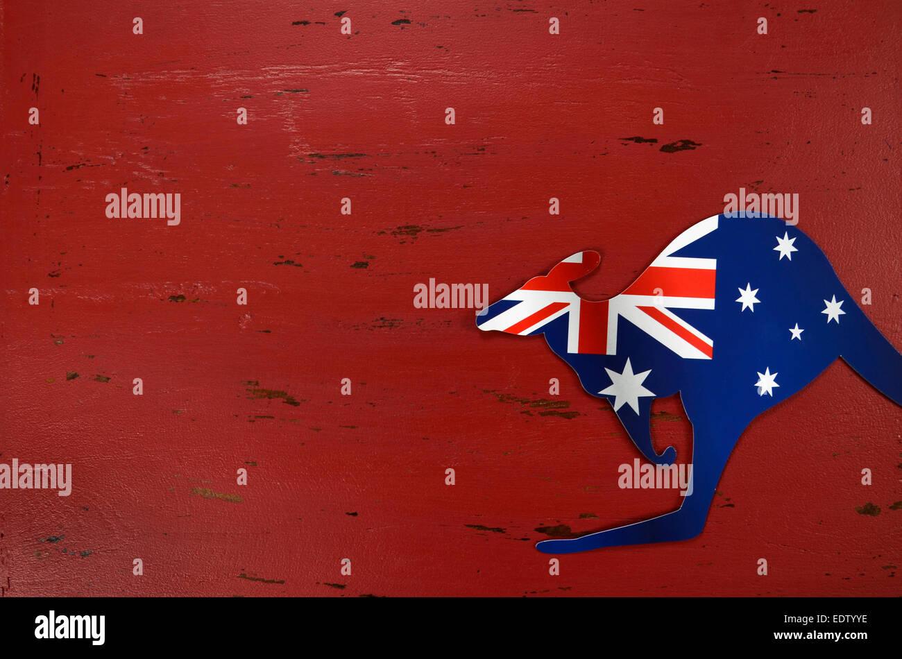 Laustralia Day Sfondo Con Forma Di Canguro Bandiera Australiana Su