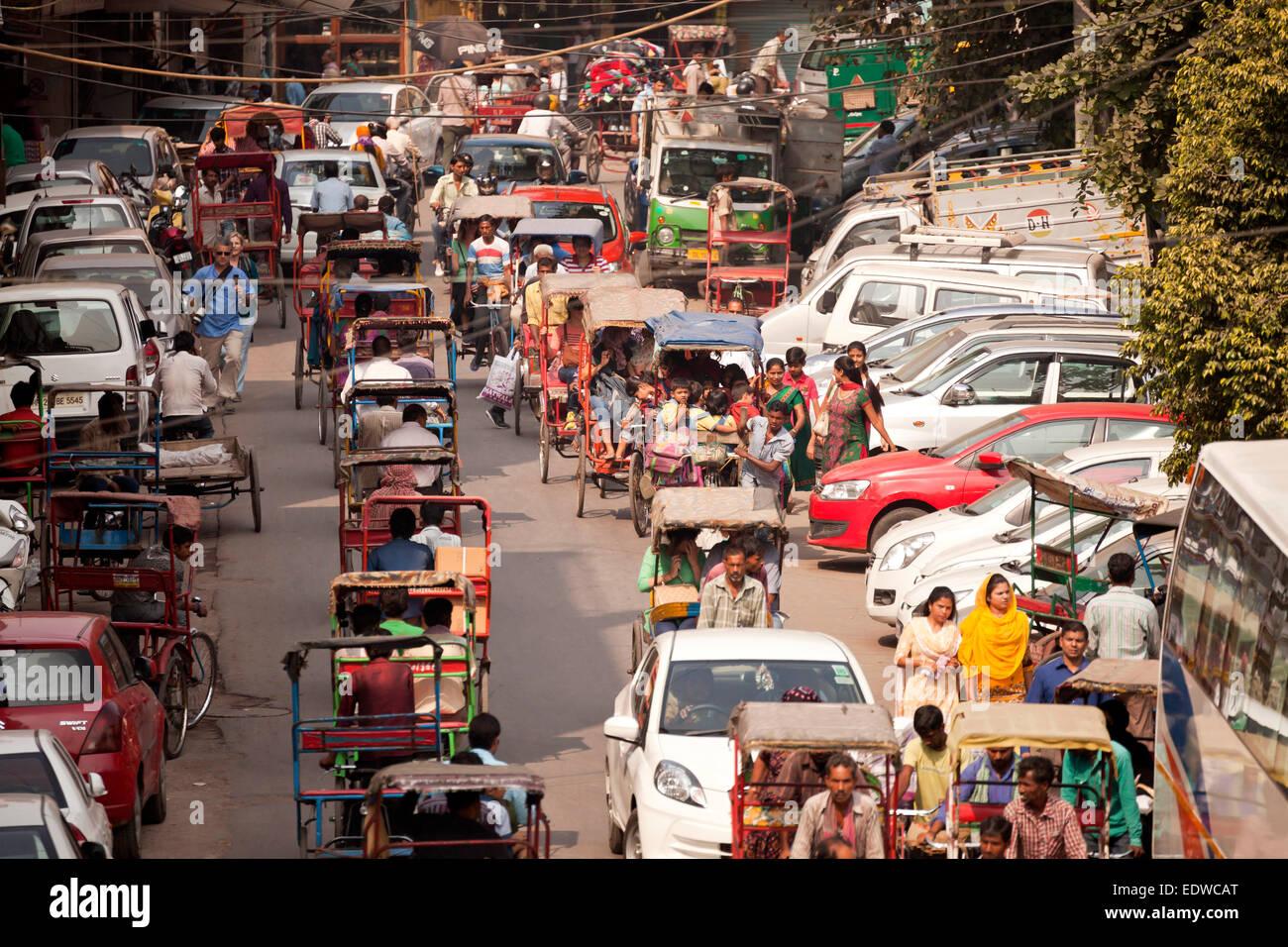 Il traffico caotico di Delhi, India, Asia Immagini Stock