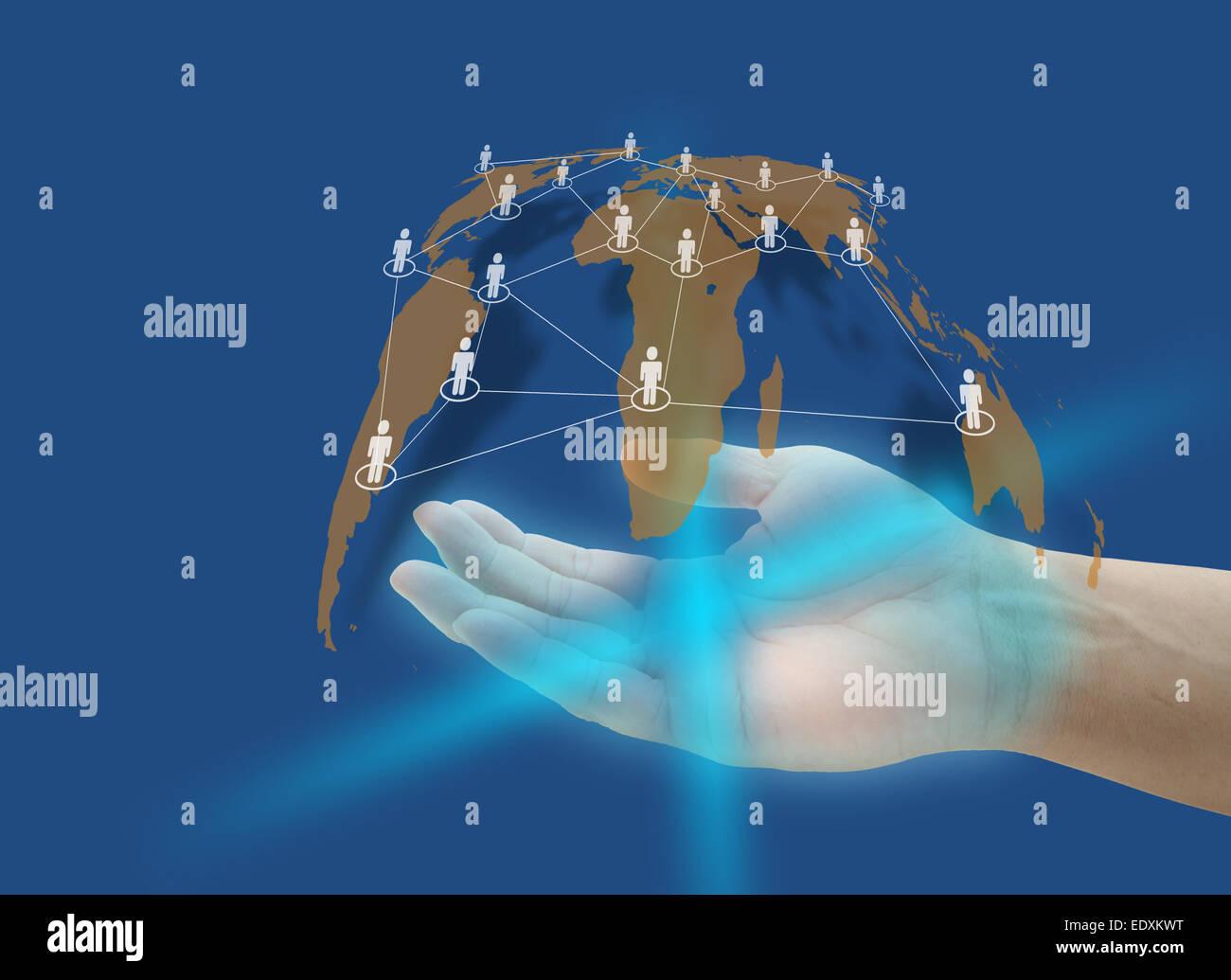 Tenere in mano la rete sociale di collegamento il concetto di tecnologia Immagini Stock