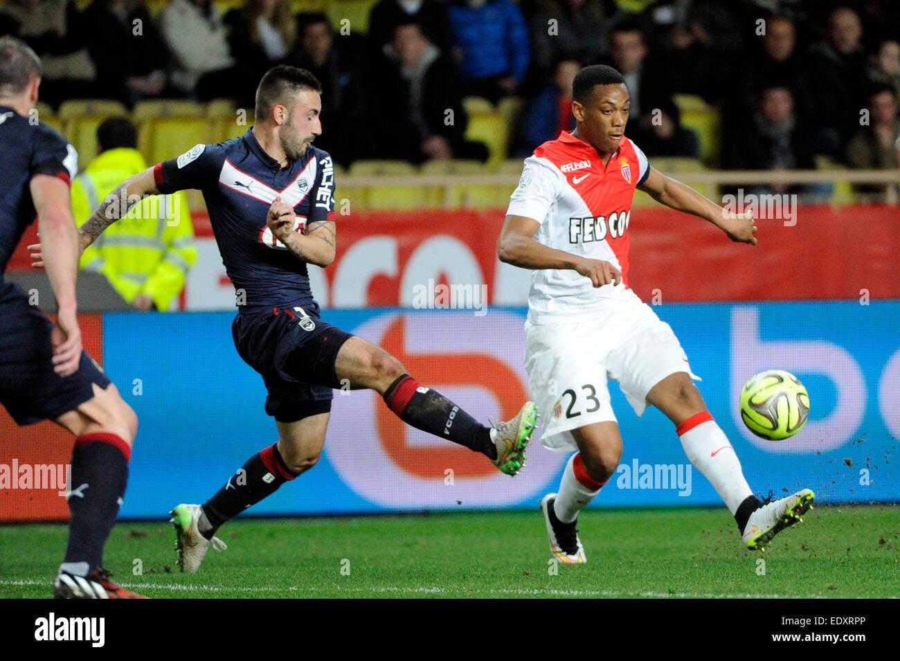 Il Principato di Monaco, Francia. Xi gen, 2015. French League calcio 1. Il Principato di Monaco contro il Bordeaux. Immagini Stock