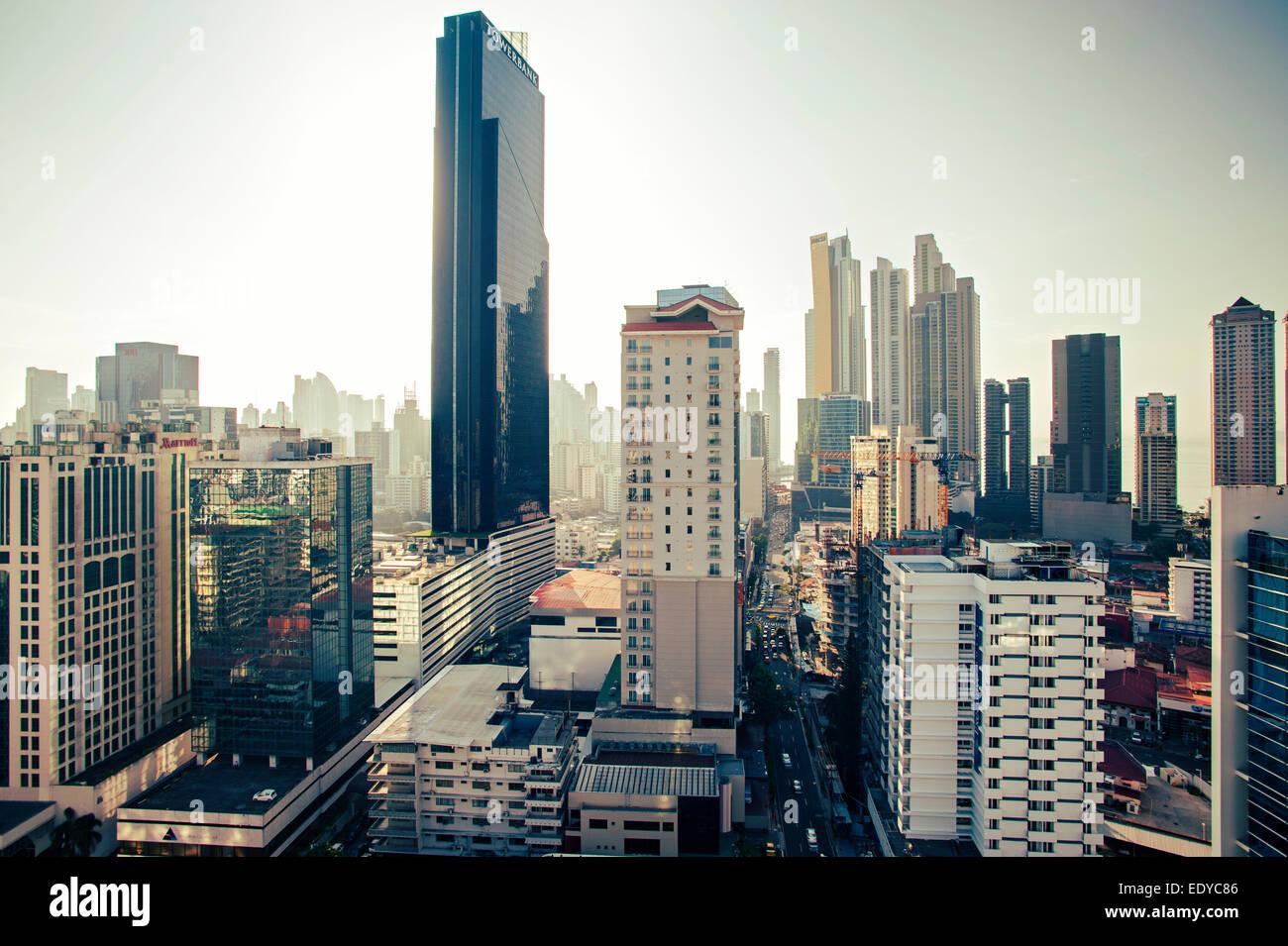 Skyline della Città di Panama, Panama Immagini Stock