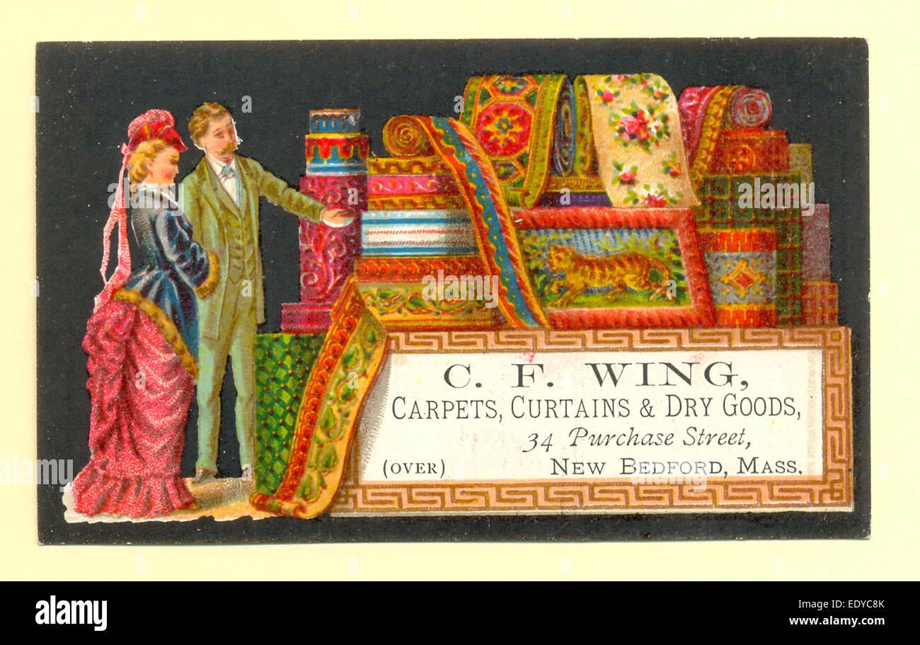 Tessera commerciale Chromolithographed per tappeti, tende e prodotti secchi venduta da C F Wing circa 1885 Foto Stock