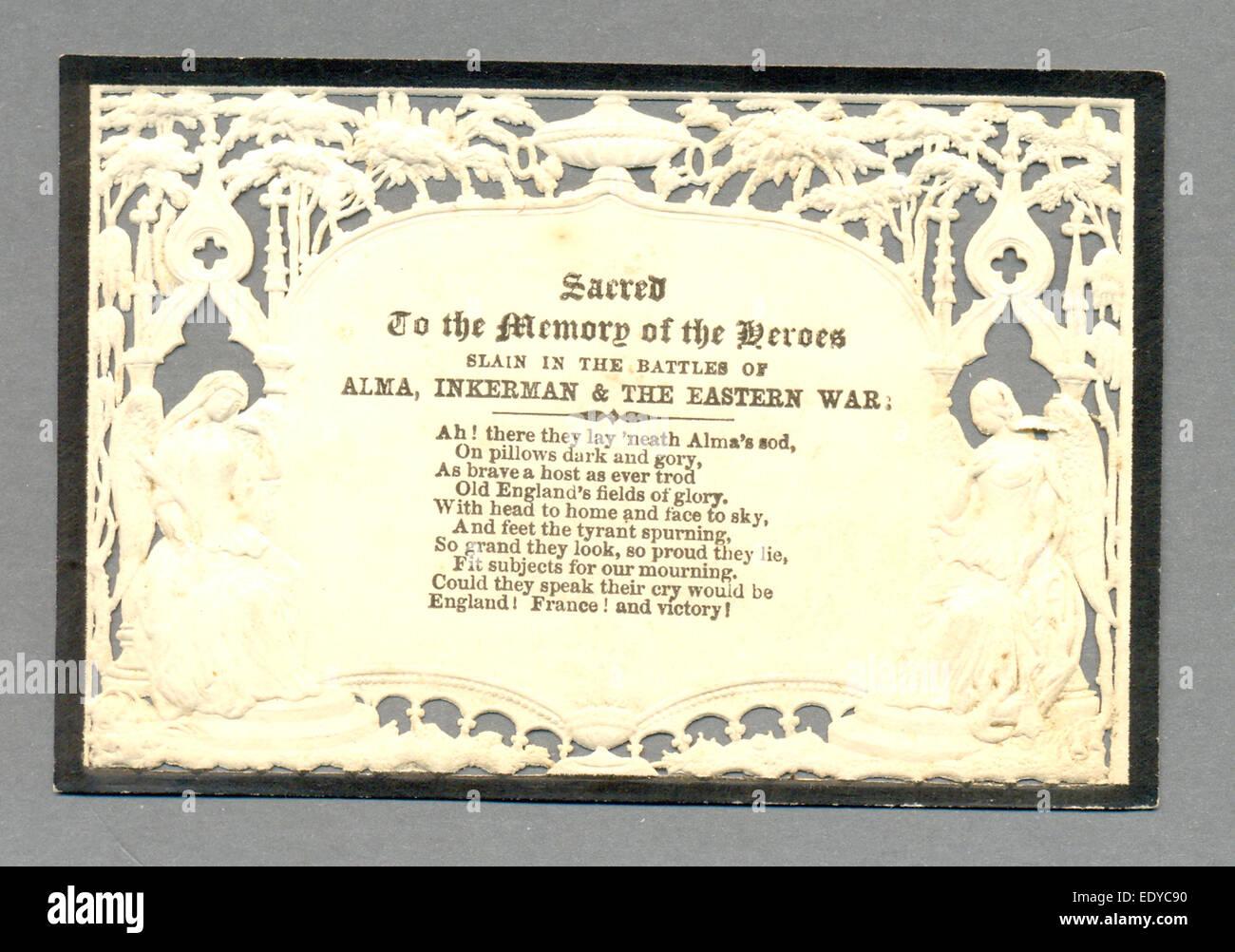 Blind goffrato scheda di lutto in memoria degli Eroi uccisi presso Alma, Inkerman e nella guerra orientale Foto Stock