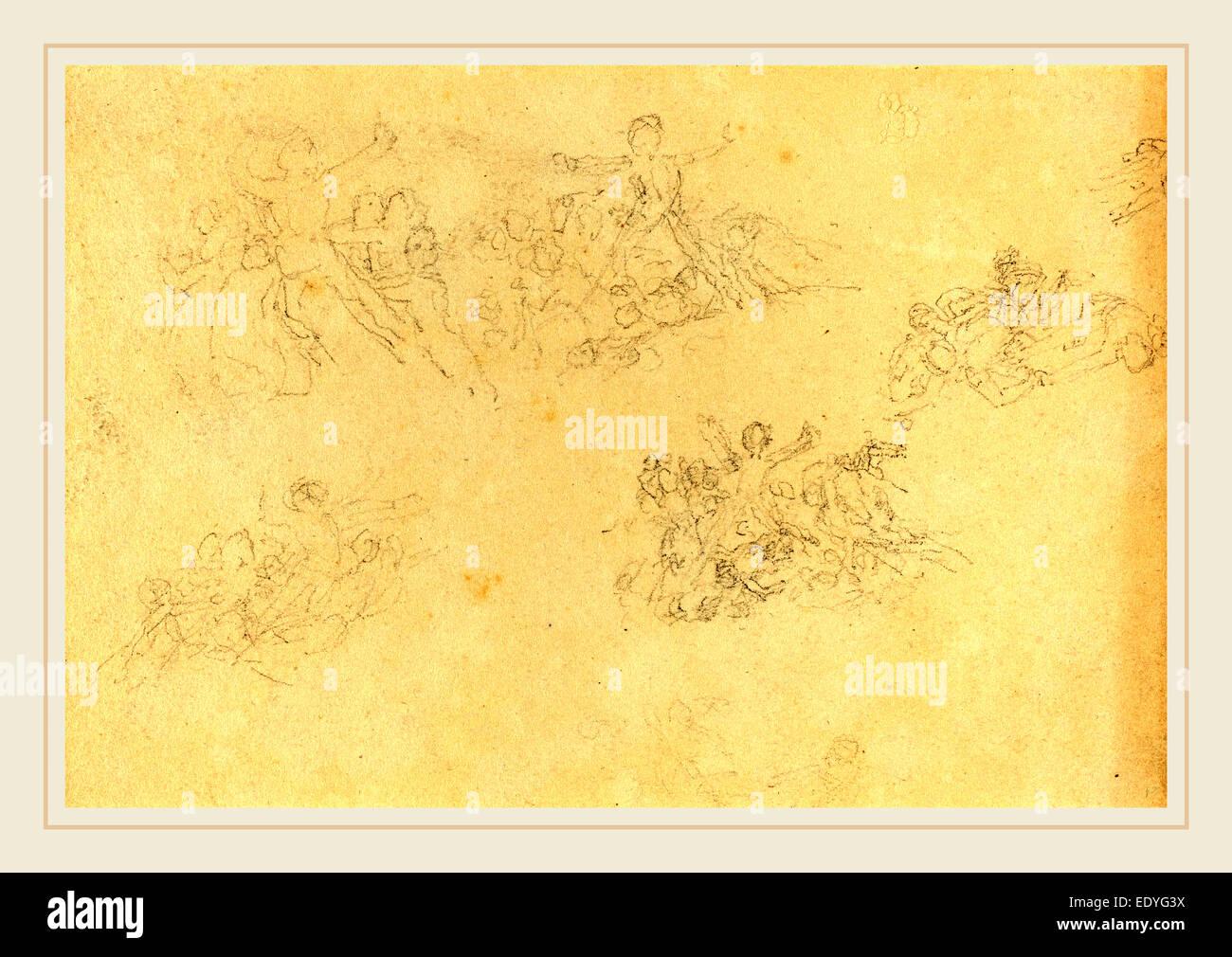 John Flaxman, British (1755-1826), il foglio di studi, grafite Immagini Stock