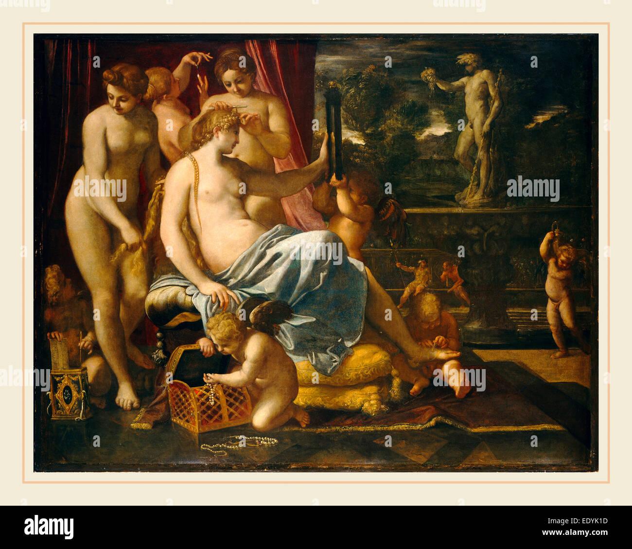 Annibale Carracci, Venere adornata dalle grazie, Italiano, 1560-1609, 1590-1595, olio su tavola trasferita su tela Immagini Stock