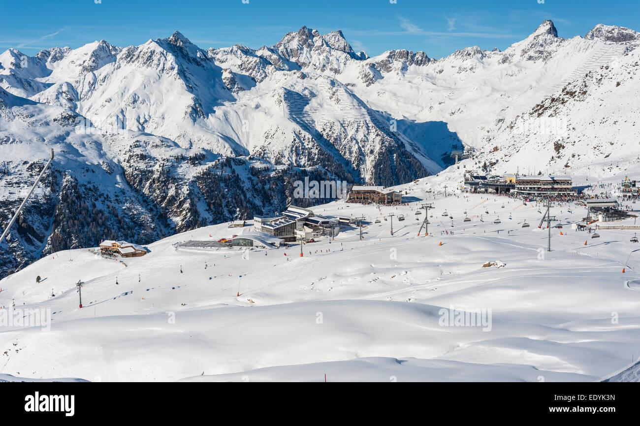 Centro di sport invernali Silvretta Arena, Idalp, Ischgl, Paznauntal in Tirolo, Austria Immagini Stock