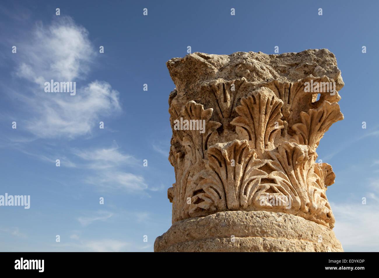 La testa della colonna, antica città romana di Jerash, parte della Decapoli, Jerash Jerash, Governatorato, Immagini Stock