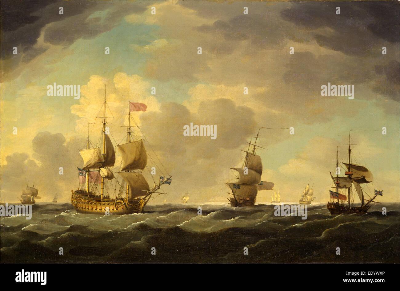 Una nave ammiraglia Inglese sotto facile navigare in una Brezza moderata, Charles Brooking, 1723-1759, inglese britannico Immagini Stock
