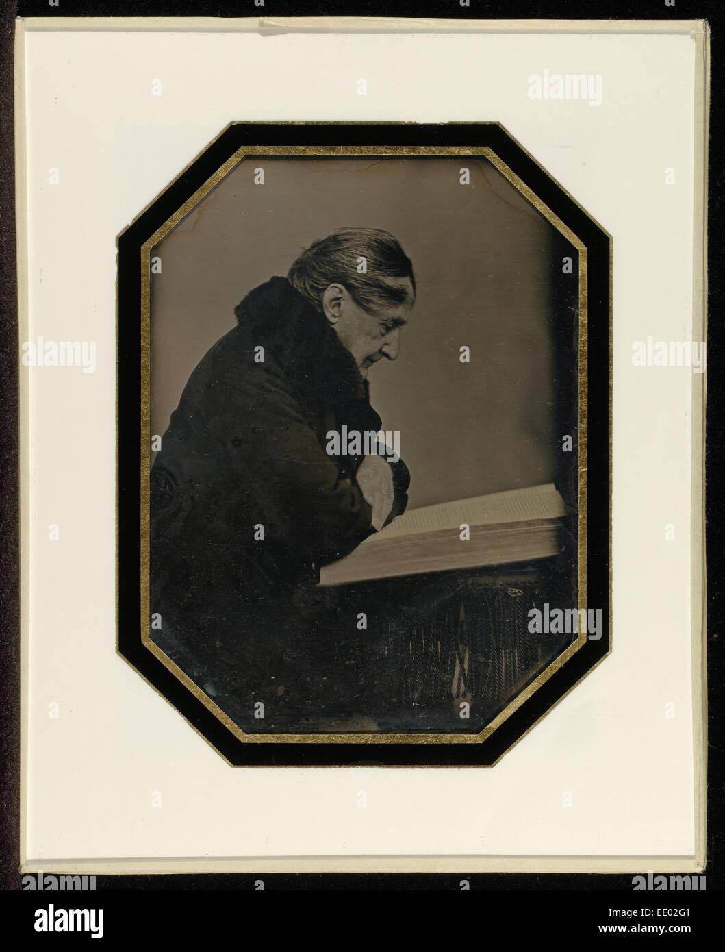 Autoritratto con un volume in Folio; Jean-Gabriel Eynard, Svizzera, 1775 - 1863; circa 1845; Daguerreotype Immagini Stock