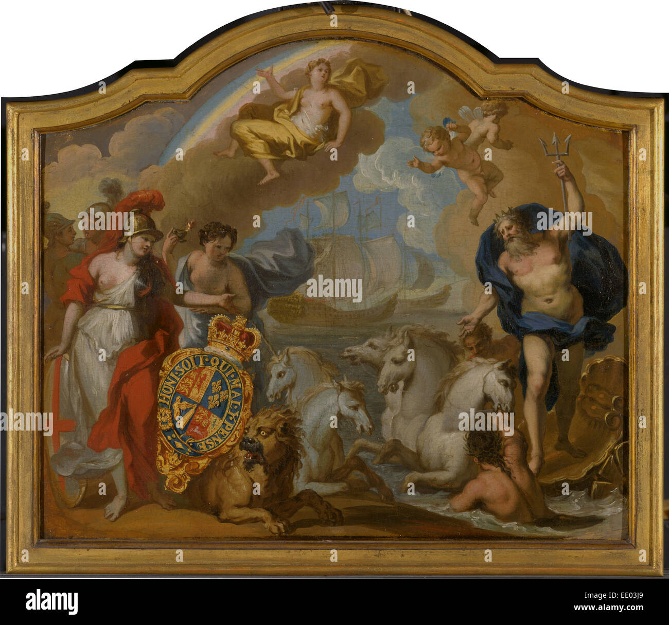 Allegoria della potenza della Gran Bretagna dal mare, la progettazione di un pannello decorativo per George io il Immagini Stock