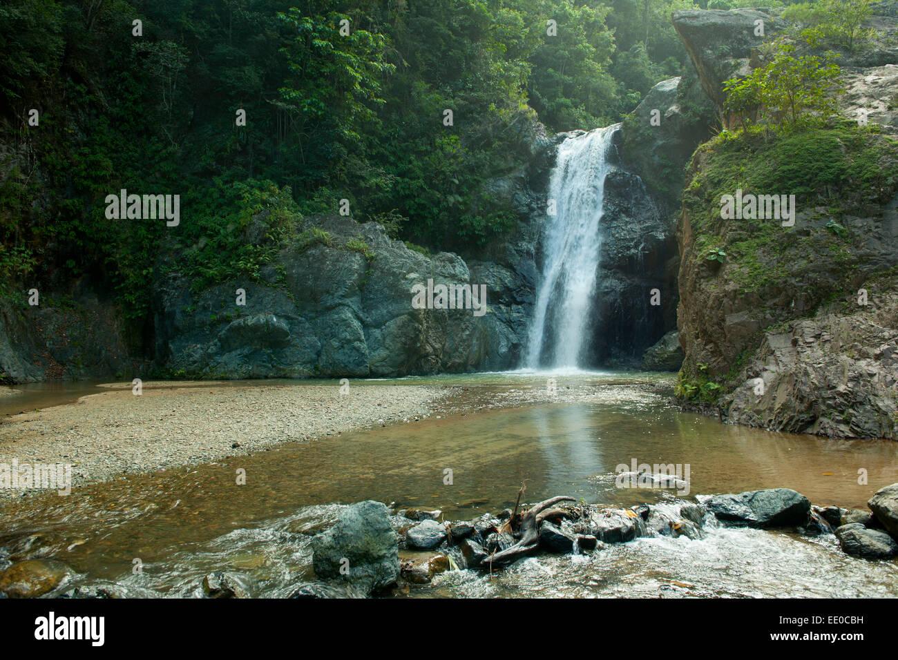Dominikanische Republik, Cordillera Central, Jarabacoa, Wasserfall Salto Baiguate Immagini Stock