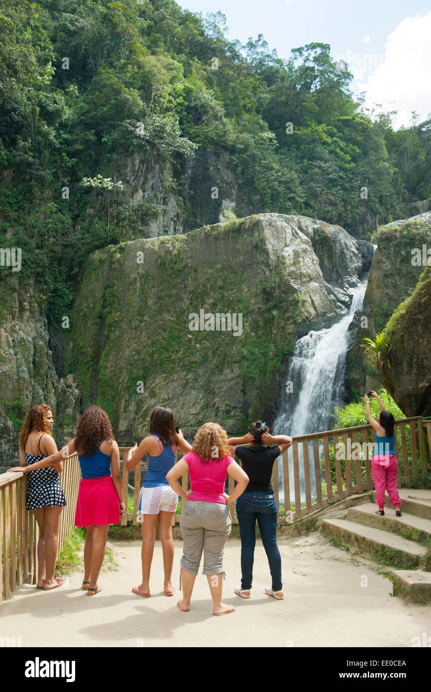 Dominikanische Republik, Cordillera Central, Jarabacoa, Wasserfall Salto Jimonea Immagini Stock