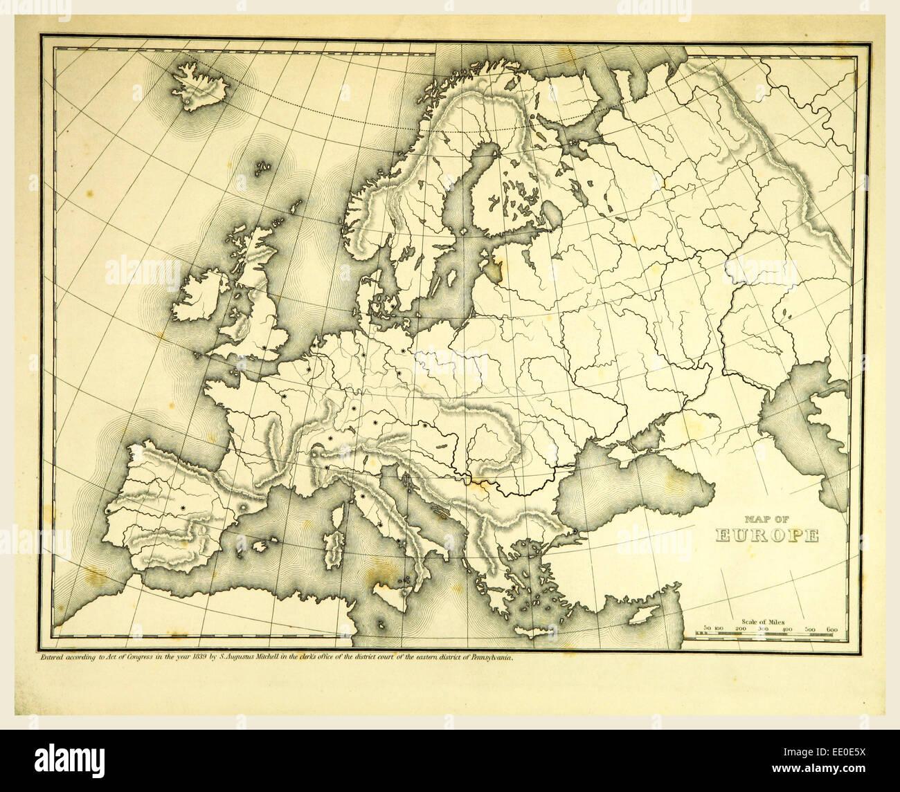 Mitchell del Atlante di mappe di contorno, Europa, secolo XIX incisione Immagini Stock