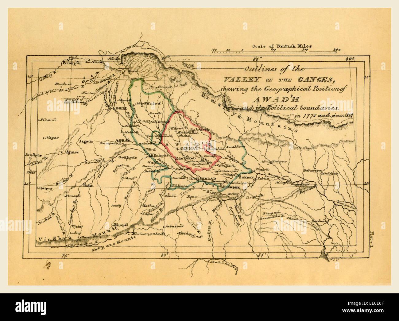 Mappa valle del Gange India, del contorno della topografia e le statistiche dei quartieri sud di Oud'h Immagini Stock