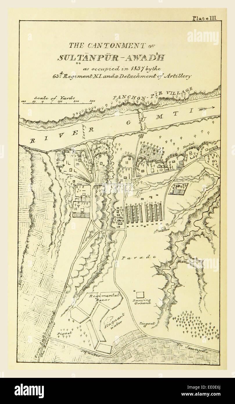 Profilo di Topografia e le statistiche dei quartieri sud di Oud'h e del cantonment Sultanpur-Oud dell'h, Immagini Stock