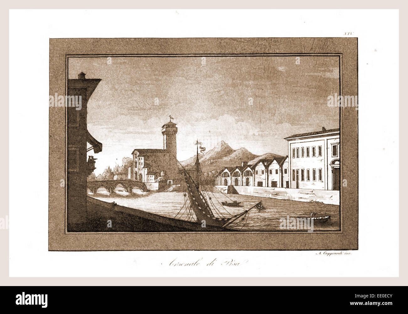 Pisa, acquerello di Angiolo Cappiardi, Italia Immagini Stock