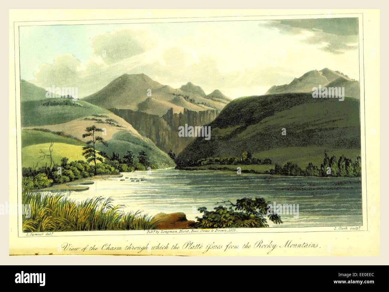 Vista del baratro attraverso il quale i problemi di Platte da montagne rocciose, 1823 Immagini Stock