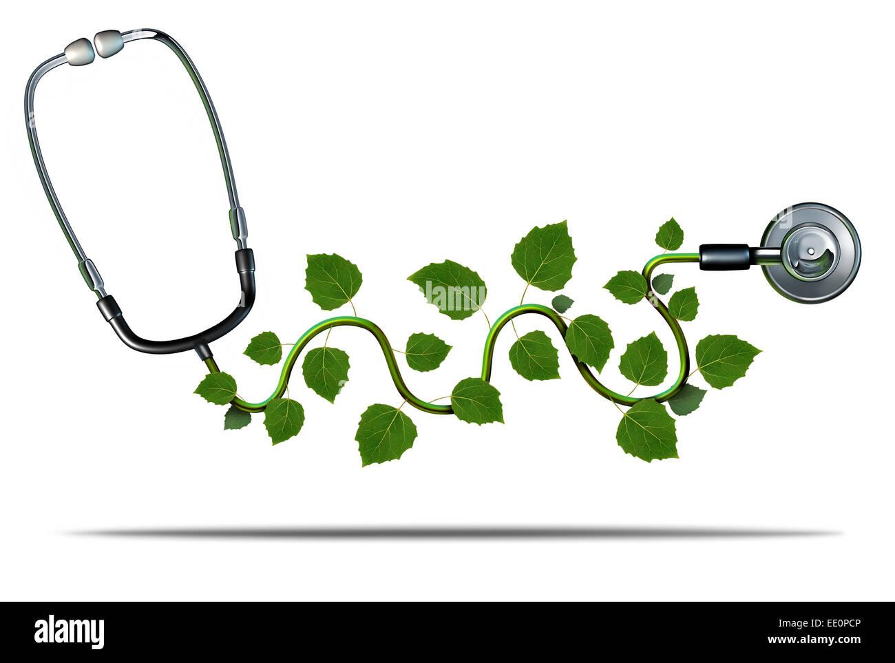 La medicina naturale e una terapia alternativa nozione come un medico stetoscopio con le foglie di piante che crescono Immagini Stock