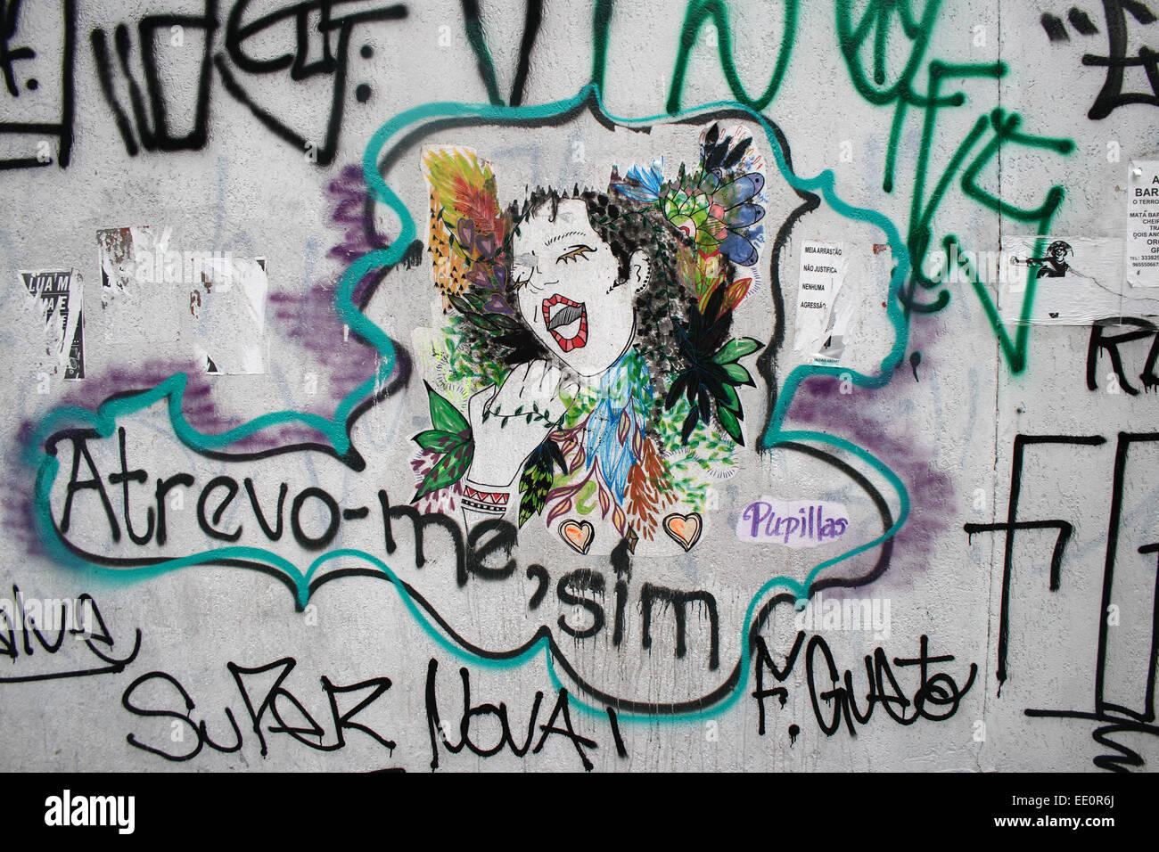 Arte di strada nella città brasiliana di Sao Paulo. Immagini Stock