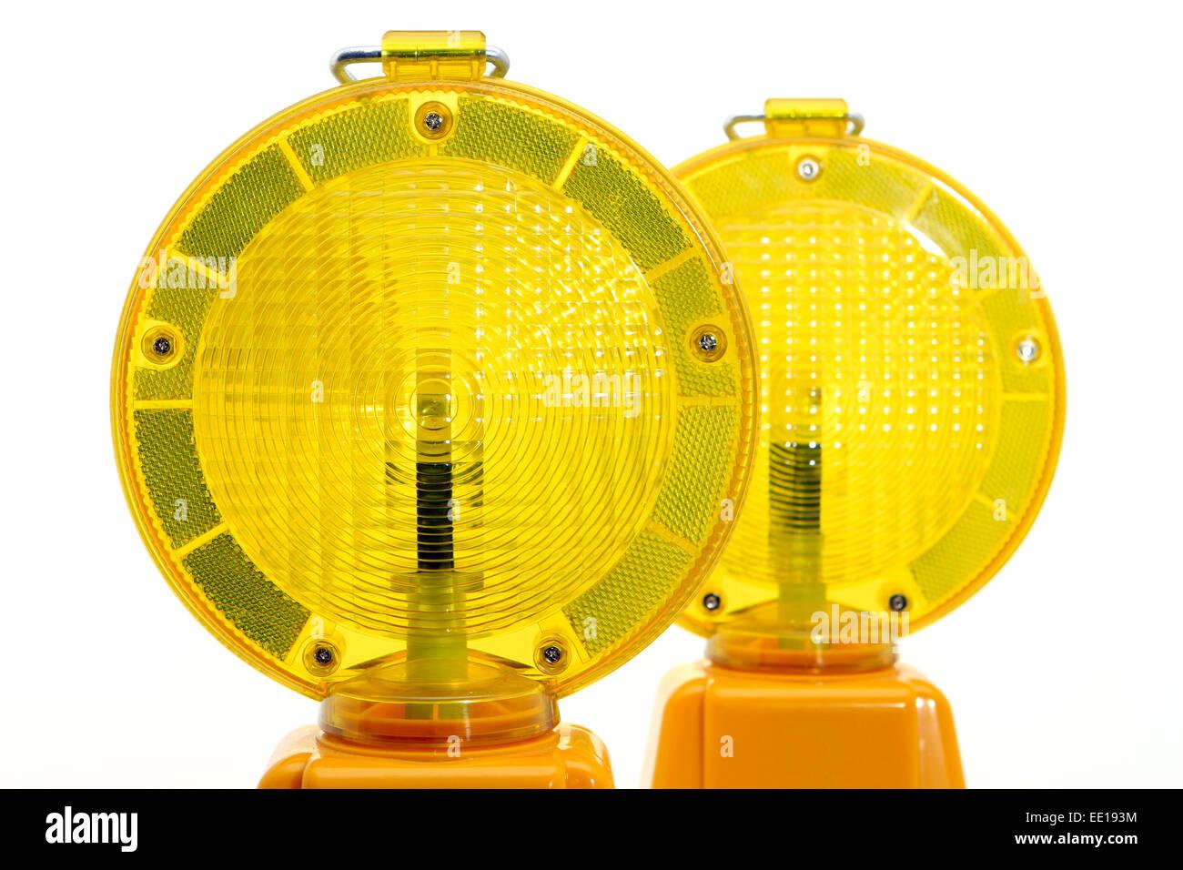 Gelbe Warnlampen, Baustellenabsicherung Foto Stock
