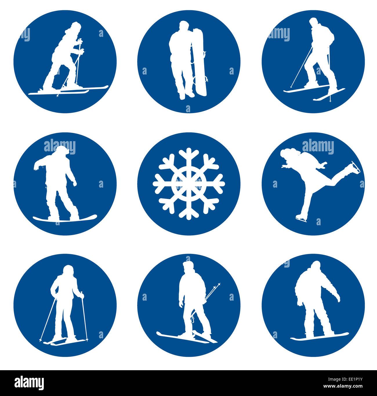 Ski resort sagome vettoriali collezione. EPS 10. Immagini Stock
