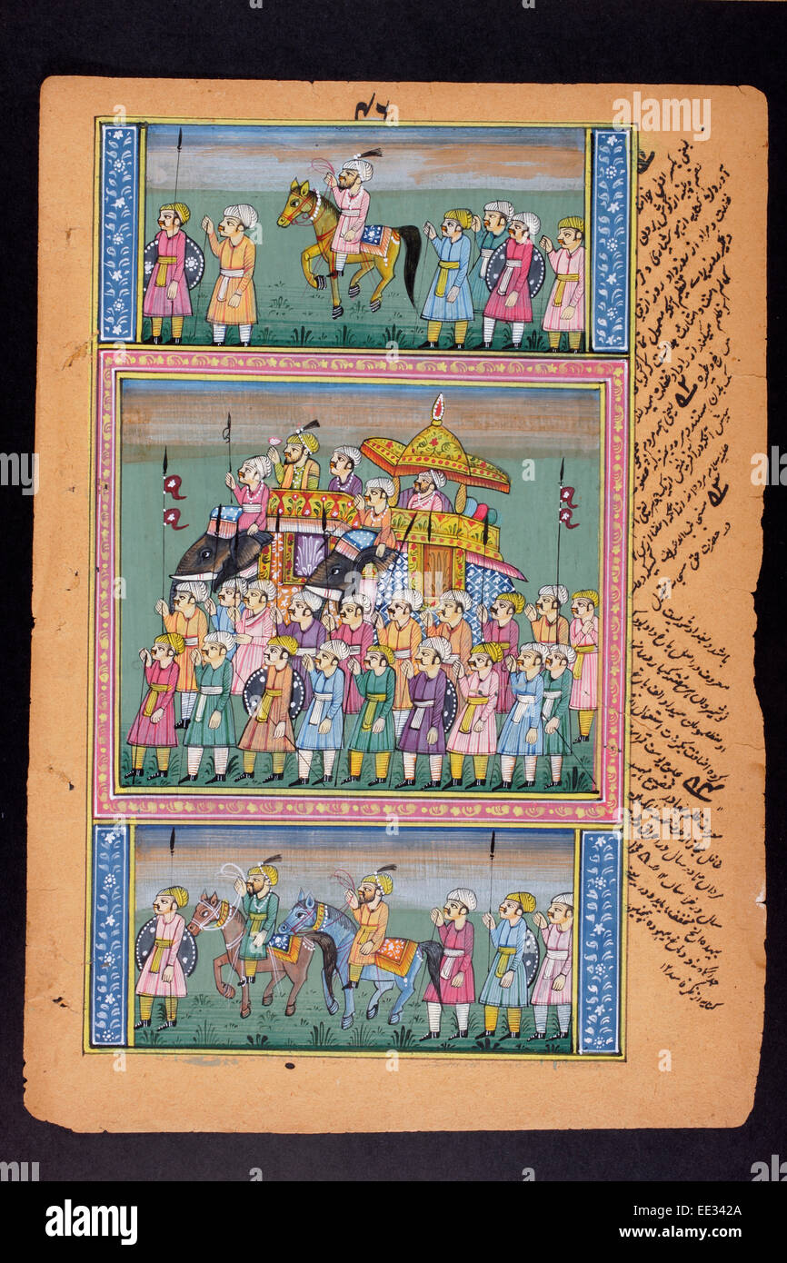 Rajasthani pittura in miniatura da Rajasthan, India. Probabilmente alla fine del XIX secolo o inizio del XX secolo. Immagini Stock