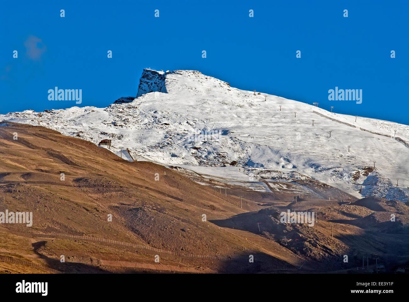 Sito di sci, Prima neve sulla Sierra Nevada, Spagna Foto Stock