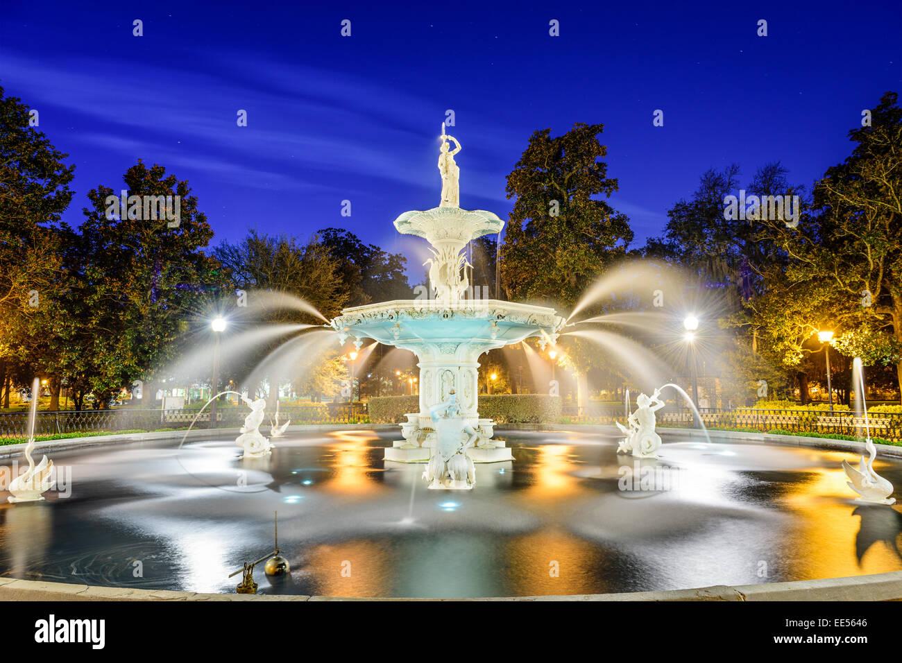 Il Savannah, Georgia, Stati Uniti d'America al Forsyth park fontana. Immagini Stock