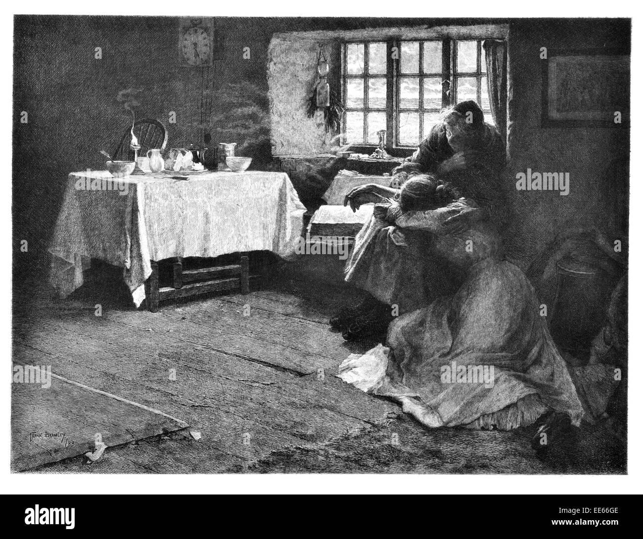 Frank Bramley una disperata Alba 1888 triste tristezza cottage house casa piangendo lacrime madre mamma figlia ragazza Foto Stock