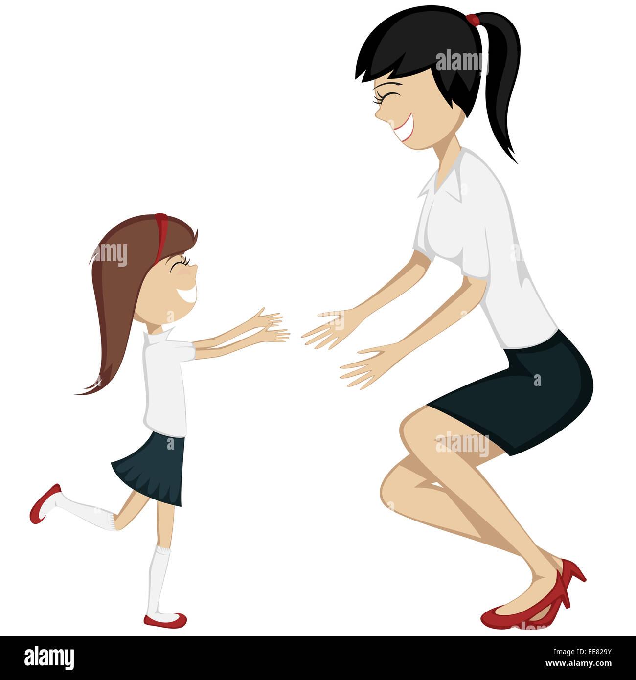 Abbraccio La Tua Mamma Colorata E Dettagliata Di Cartoon Stile Arte Con Una Ragazza Bunette In Camicetta Gonna Marcia Verso Sua Madre