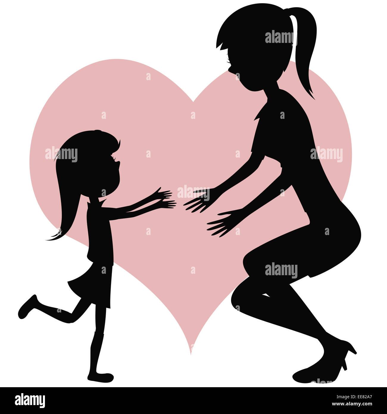 Abbraccio La Tua Mamma Cartoon Style Sagome Con Un Po Di Capelli Lunghi Ragazza In Marcia Verso Sua Madre Per