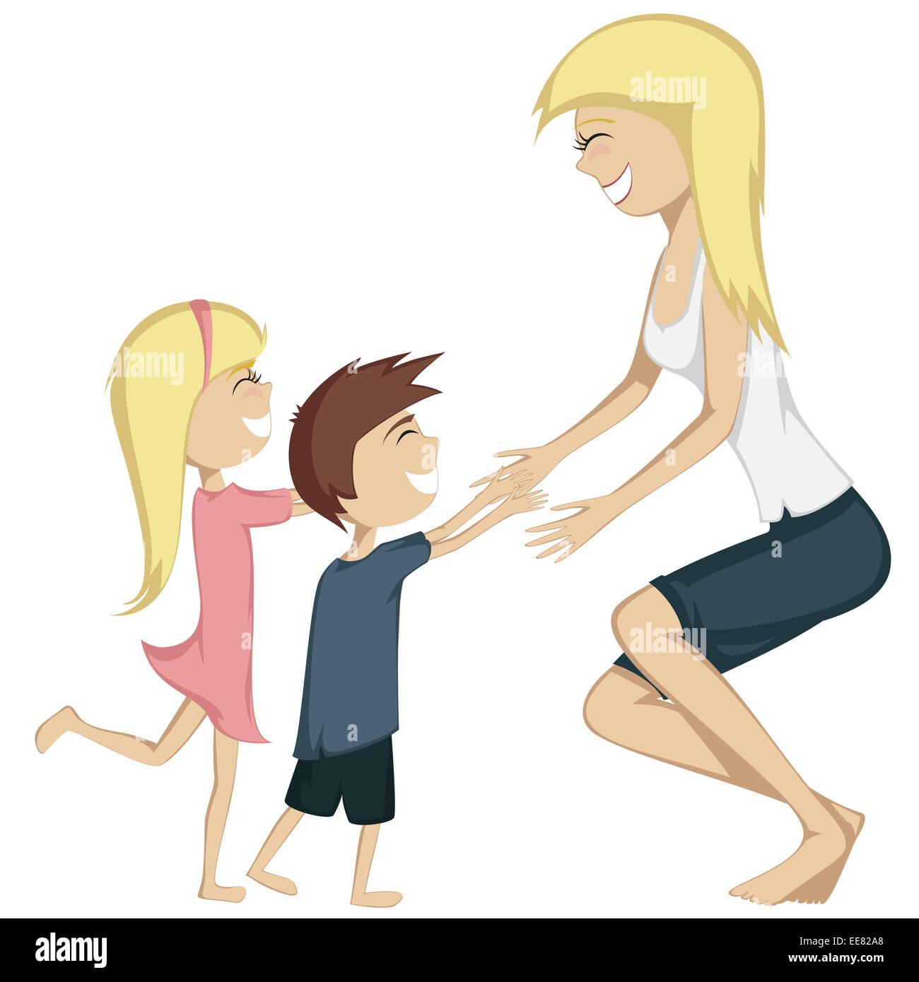 Abbraccio La Tua Mamma Colorata E Dettagliata Di Cartoon Stile Arte Con Una Ragazza Bionda Un Pelo Marrone Boy Sono In Marcia Verso Loro Madre