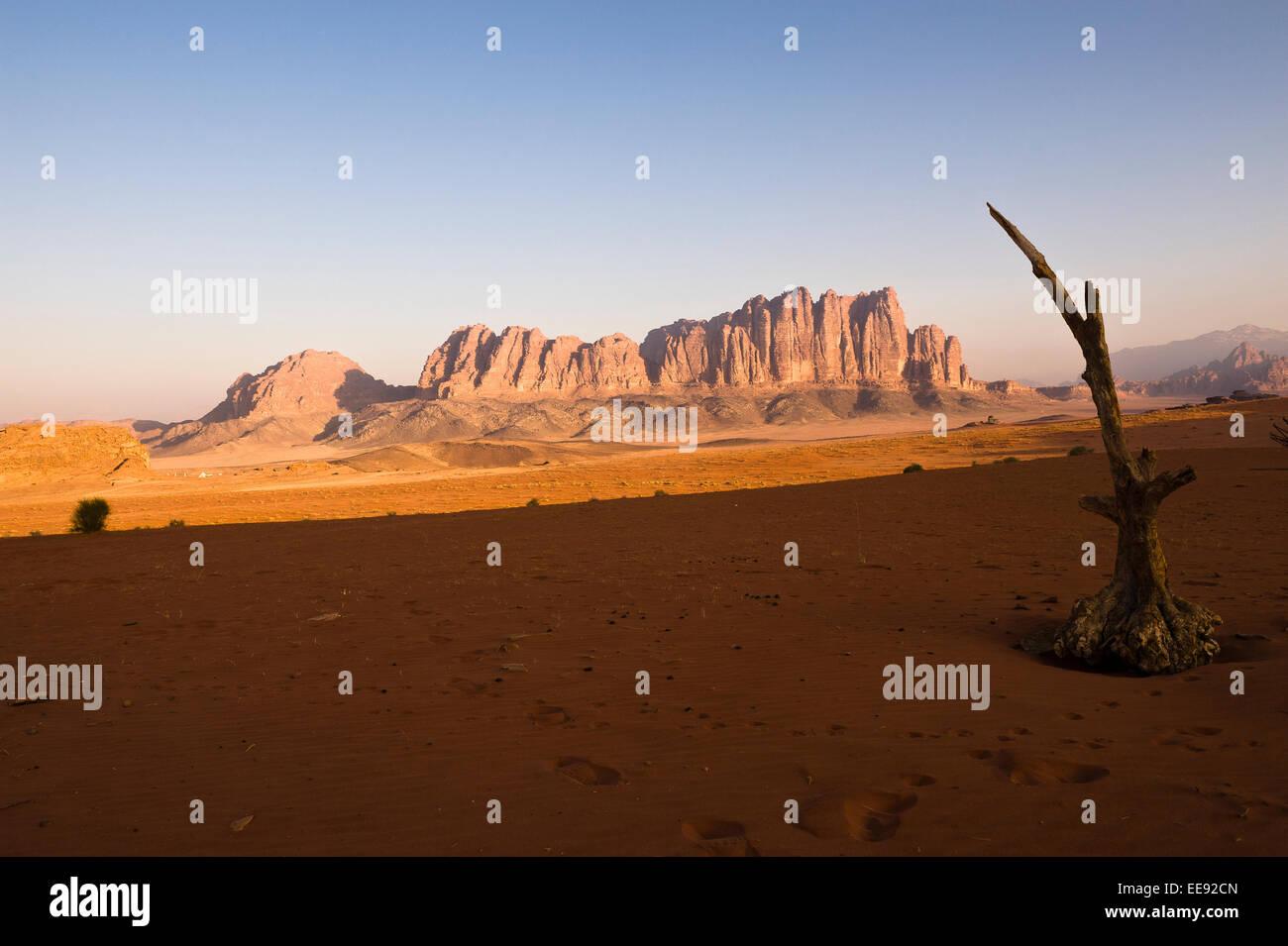 Una vista di Jebel Qattar, che ospita la più variegata fauna selvatica nel Wadi Rum Parco Nazionale. Immagini Stock