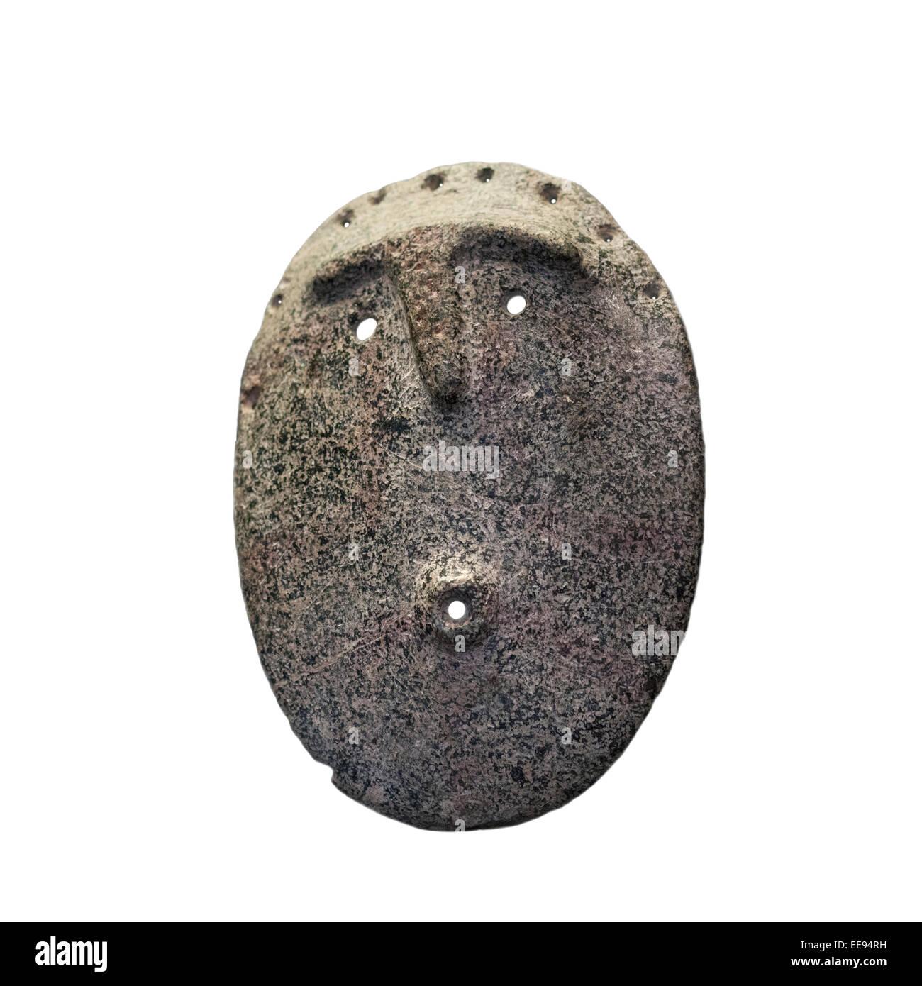 Primitiva maschera di pietra Museo cileno per arte precolombiana, Museo Chileno de Arte Precolombino in Santiago Immagini Stock