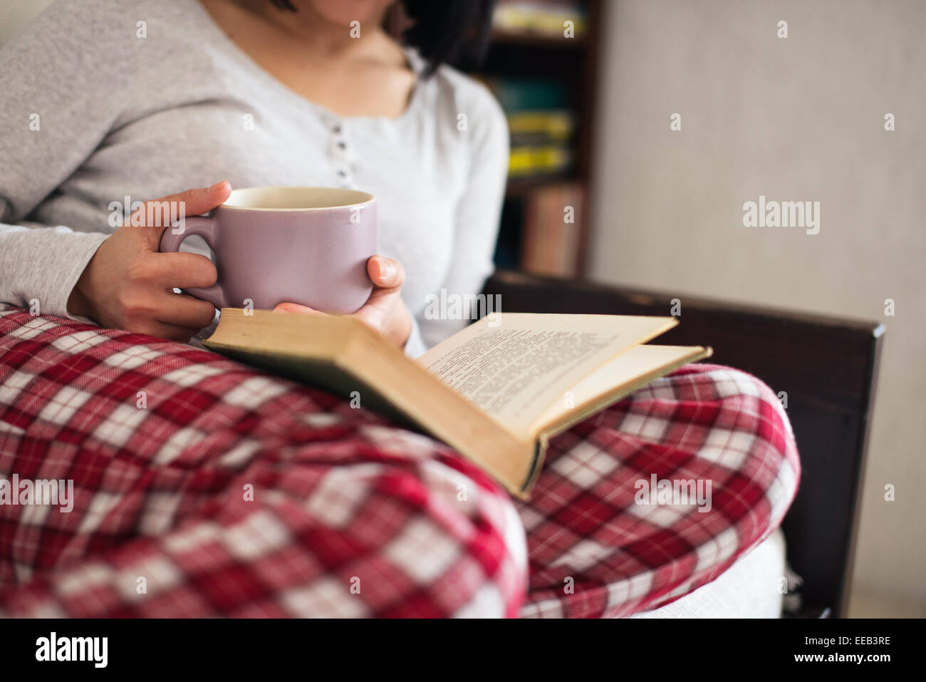 Le donne nel suo salotto lettura del libro e bere il tè Immagini Stock