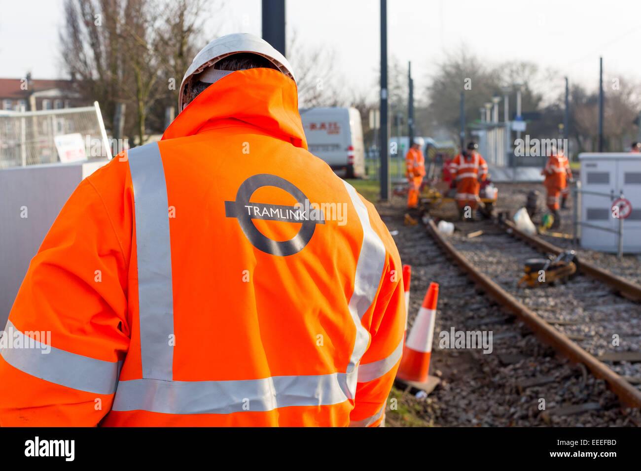 Miglioramento Tramlink lavora a New Addington Immagini Stock