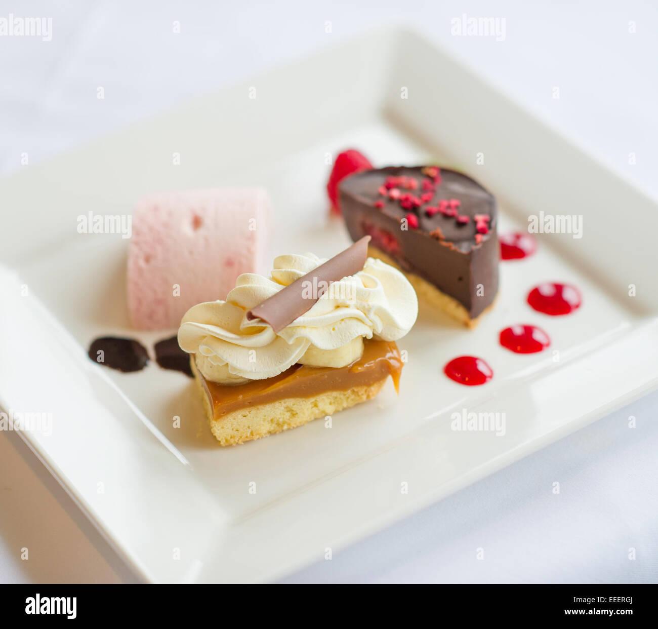 Piatto da dessert in un ristorante Immagini Stock