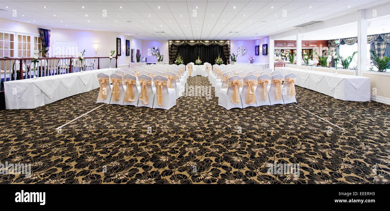 Un ricevimento di nozze layout in un hotel Immagini Stock