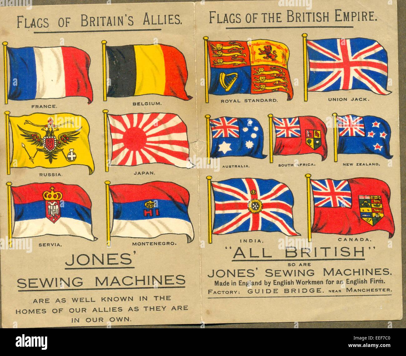La Prima guerra mondiale i flag su opuscolo pubblicitario per Jones' macchine per cucire Foto Stock