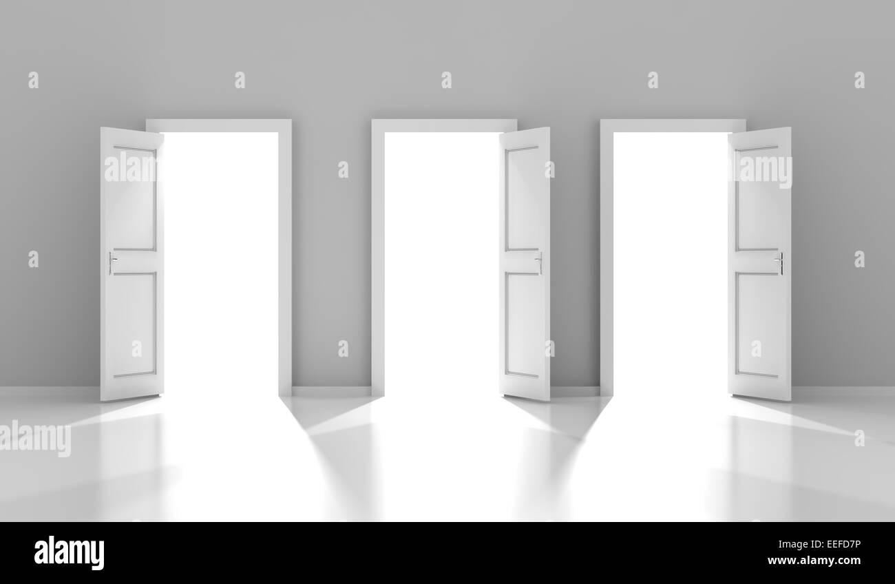 Tre porte con copyspace, 3D render Immagini Stock